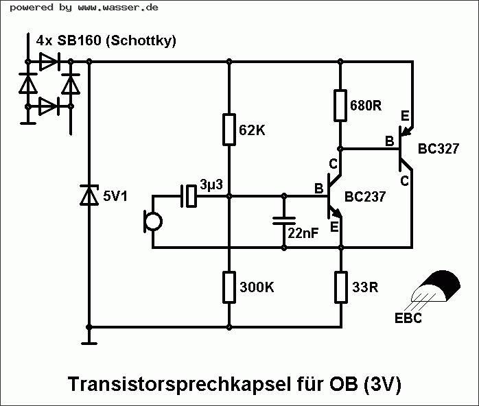 Schaltplan OB-Transistorsprechkapsel / Telefon Forum für Historische ...