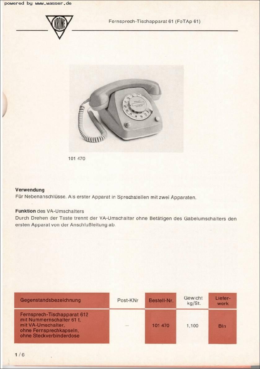 612-2 mit VA-Schalter? / Telefon Forum für Historische Telefone ...