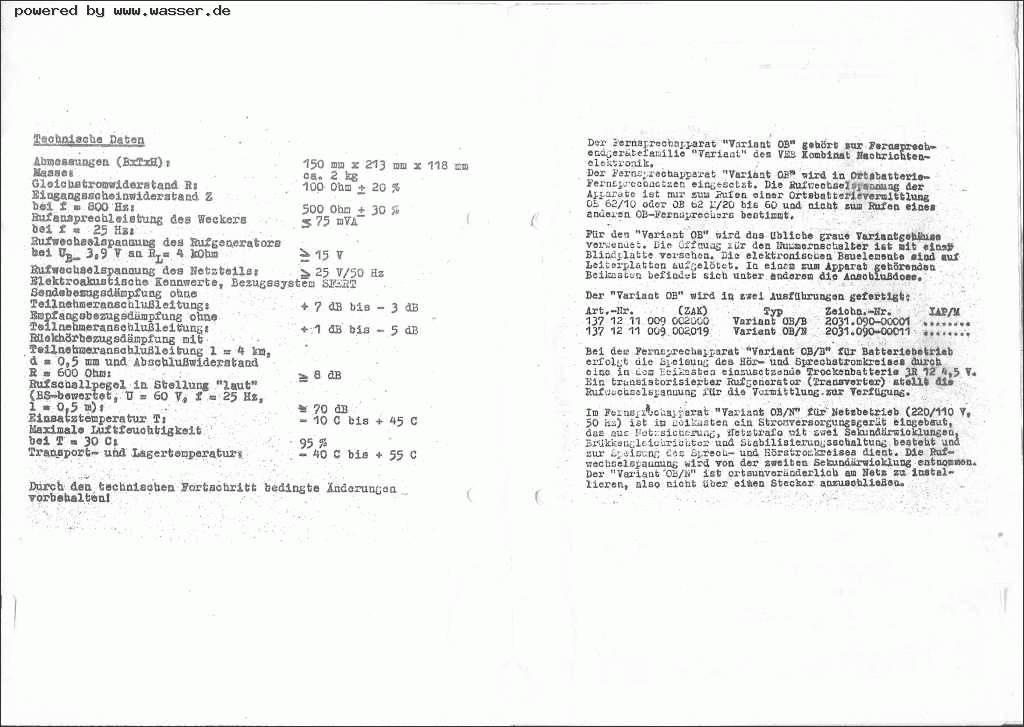 Variant OB BN Schaltpläne / Telefon Forum für Historische Telefone ...